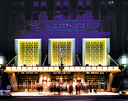 Hilton Waldorf Astoria Exterior View at Night